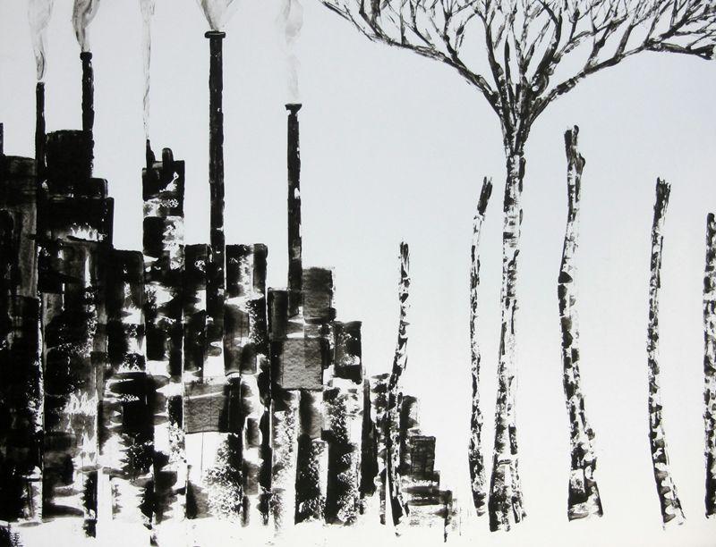 Dessins Noir Et Blanc Encre Noire Peinture Satirique