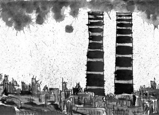 2011 :: Black Ink Drawing, Below the Twin Towers :: A4